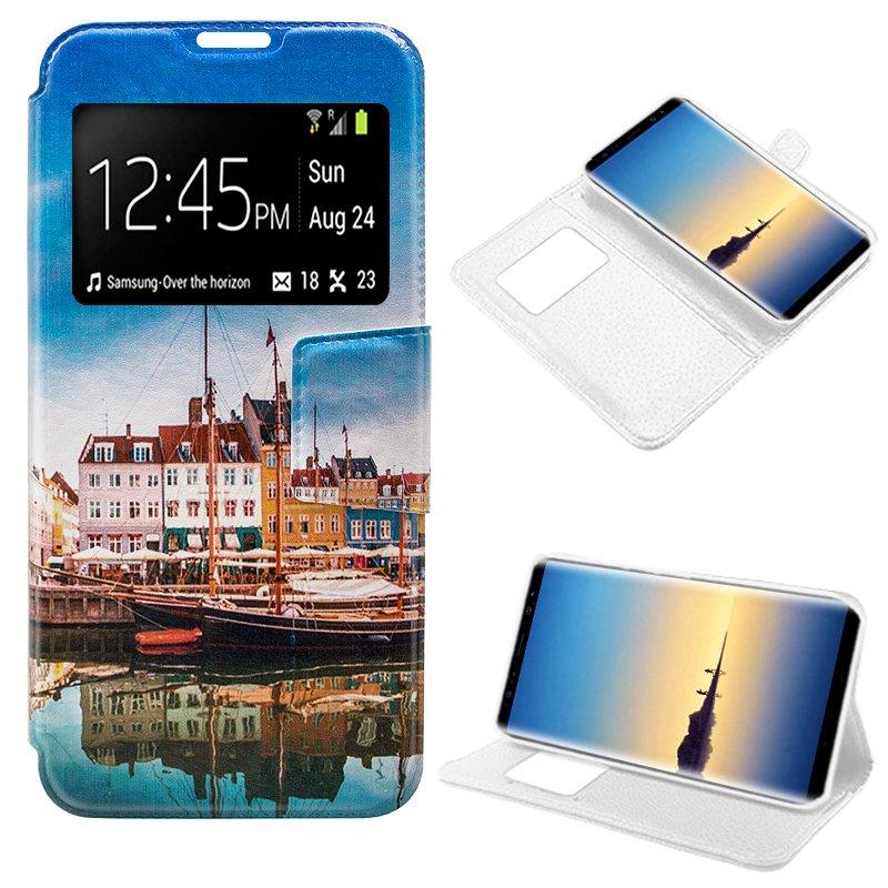 Funda Flip Cover Samsung N950 Galaxy Note 8 Dibujos Lago