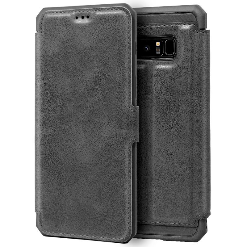 Funda Flip Cover Samsung N950 Galaxy Note 8 Leather Gris