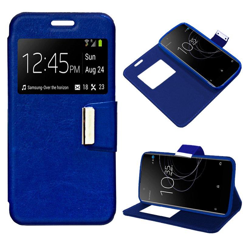 Funda Flip Cover Sony Xperia XA1 Plus Liso Azul