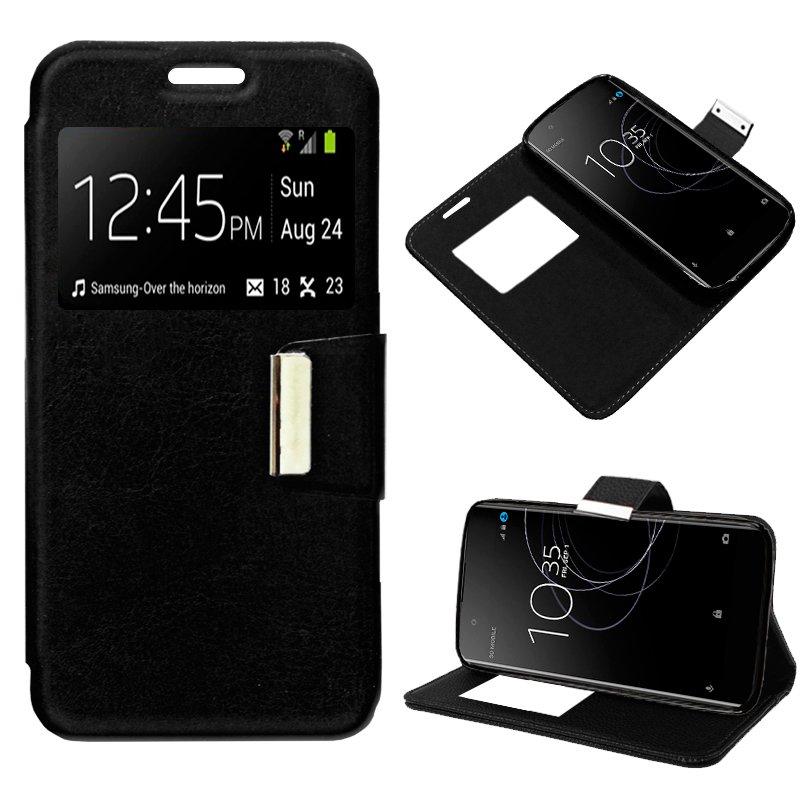 Funda Flip Cover Sony Xperia XA1 Plus Liso Negro
