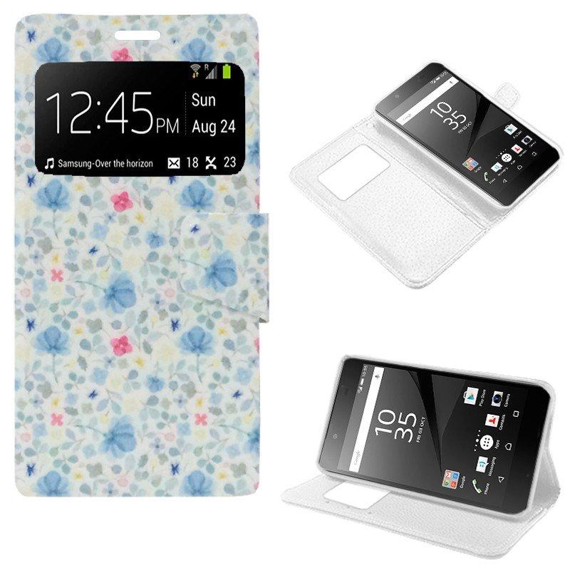 Funda Flip Cover Sony Xperia Z5 Dibujos Flores