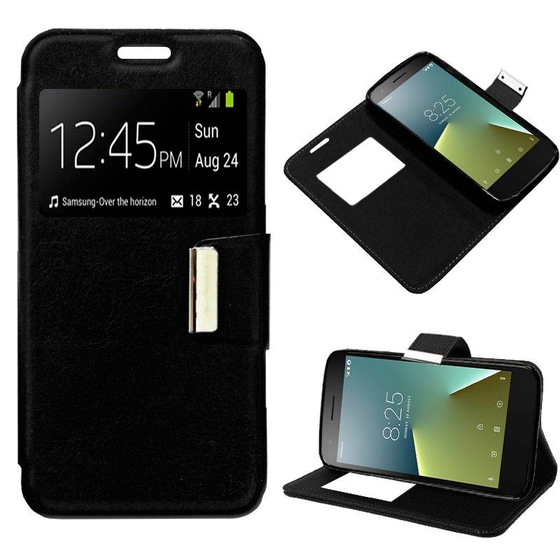 Funda Flip Cover Vodafone Smart E8 Liso Negro