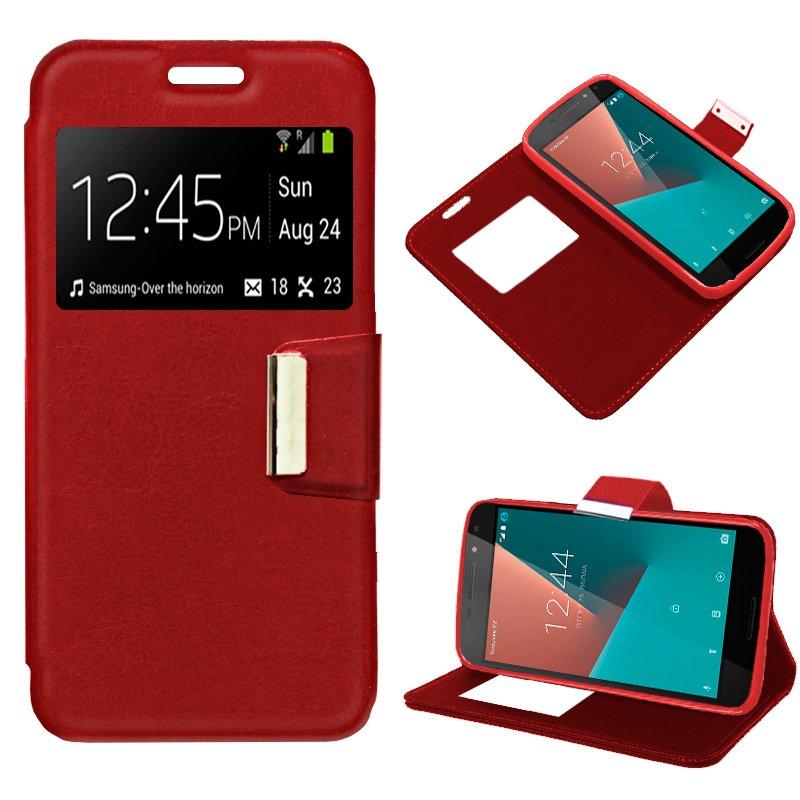 Funda Flip Cover Vodafone Smart N8 Liso Rojo