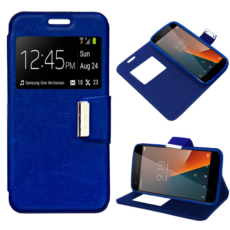 Funda Flip Cover Vodafone Smart V8 Liso Azul