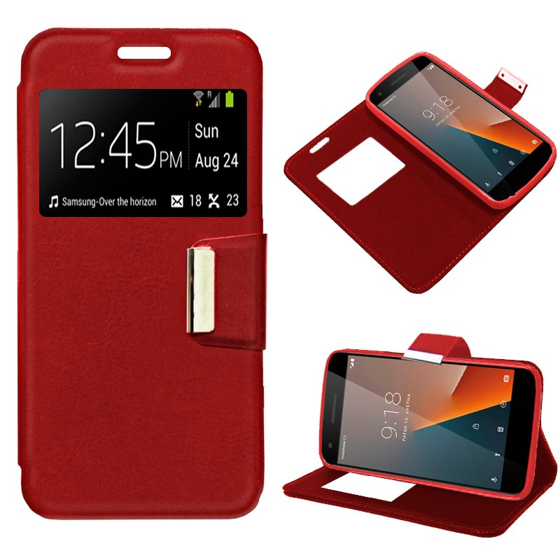 Funda Flip Cover Vodafone Smart V8 Liso Rojo
