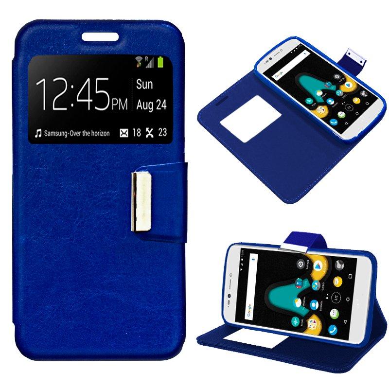 Funda Flip Cover Wiko U Pulse Lite Liso Azul