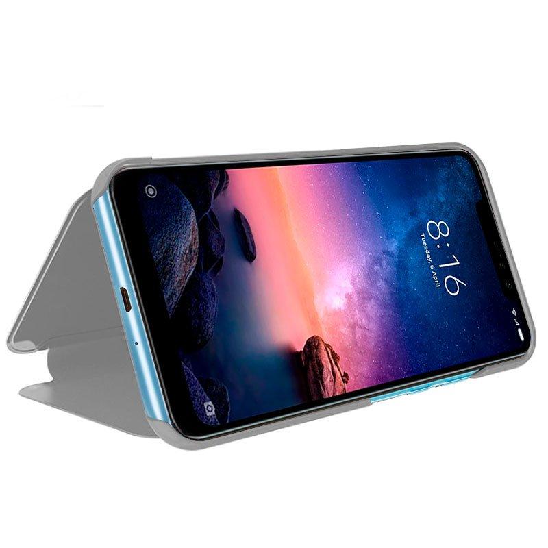 Funda Flip Cover Xiaomi Redmi Note 6 Pro Clear View Plata