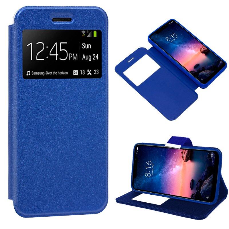 Funda Flip Cover Xiaomi Redmi Note 6 Pro Liso Azul