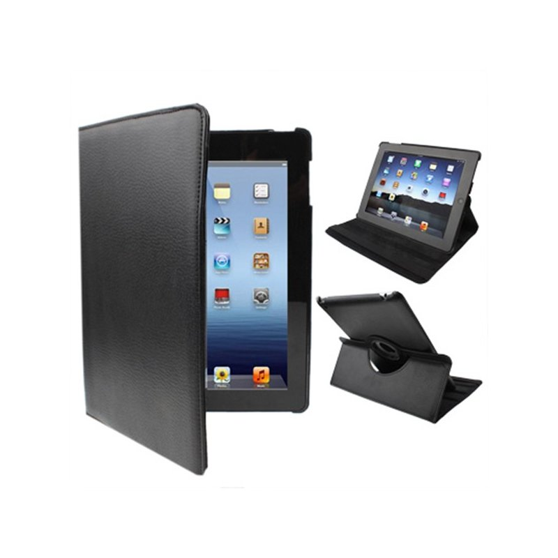Funda iPad 2 / iPad 3 / 4 Giratoria Polipiel color Negro (Soporte)