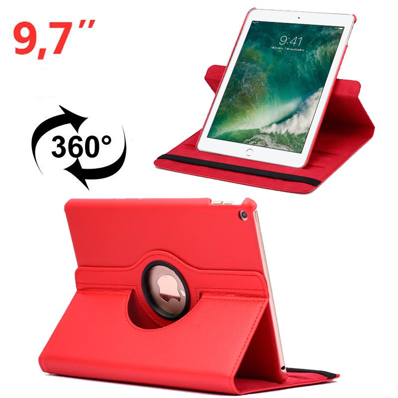 Funda iPad Air / Air 2 / Pro 9.7 / iPad 2017 / iPad 2018 9.7 pulg Giratoria Polipiel Rojo