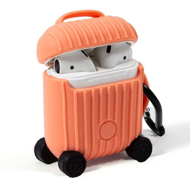 Funda Soft Silicona Apple Airpods / Auriculares COOL Air V2 / V3 Qi (Naranja)