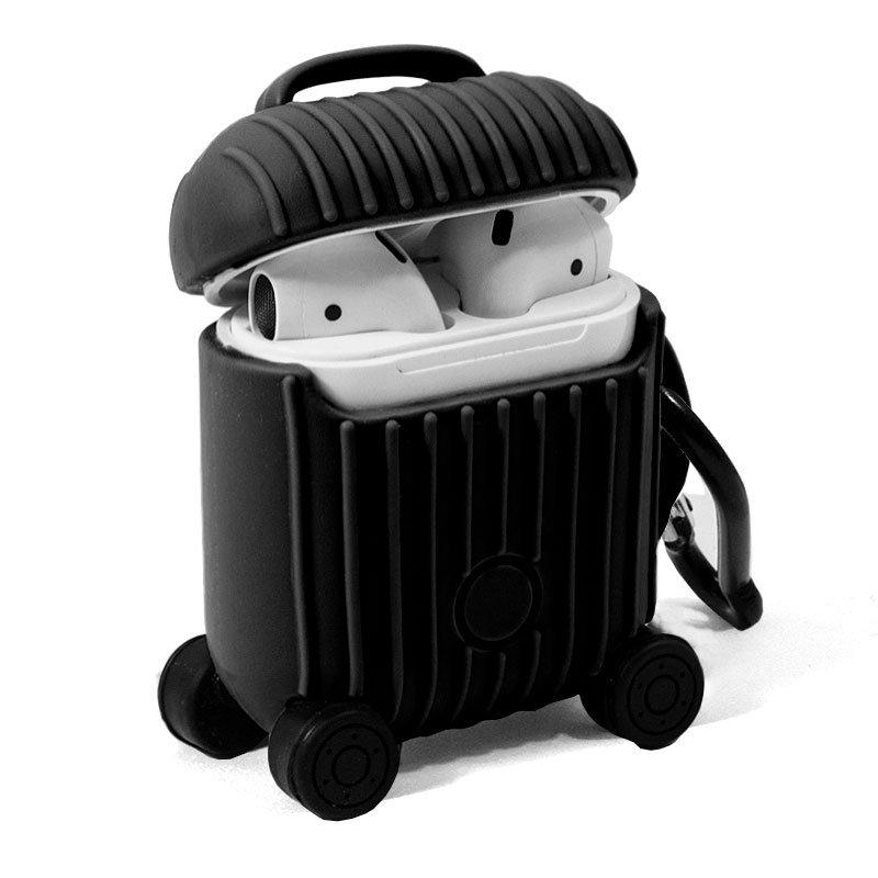 Funda Soft Silicona Apple Airpods / Auriculares COOL Air V2 / V3 Qi (Negro)