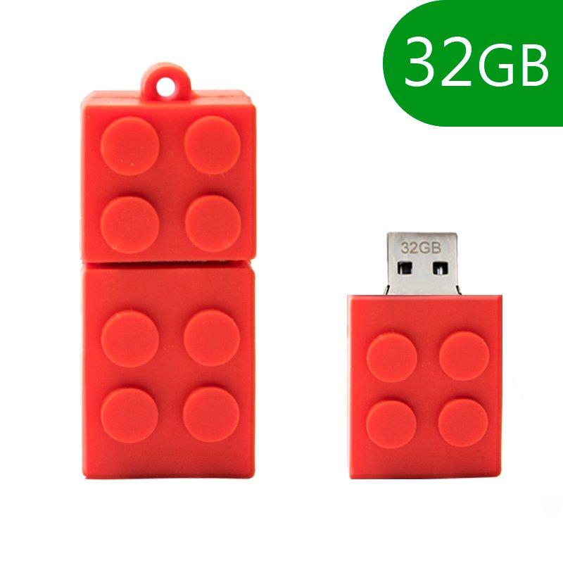 Pen Drive USB x32 GB Silicona Bloque Rojo