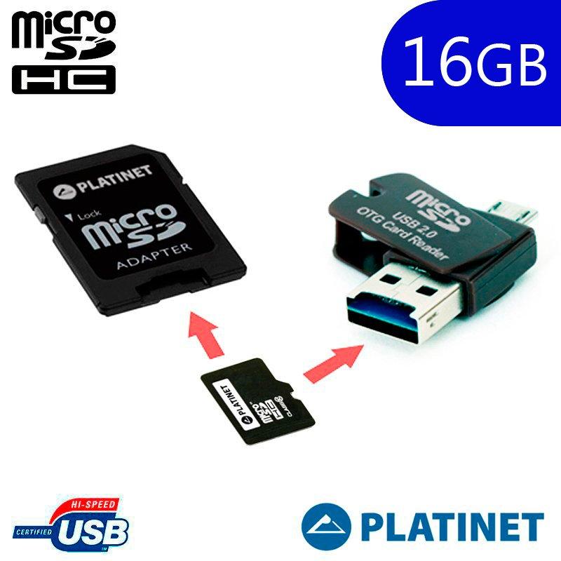 Tarjeta Memoria Micro SD con Adapt. x16 GB Platinet (Clase 10) + OTG Micro Usb