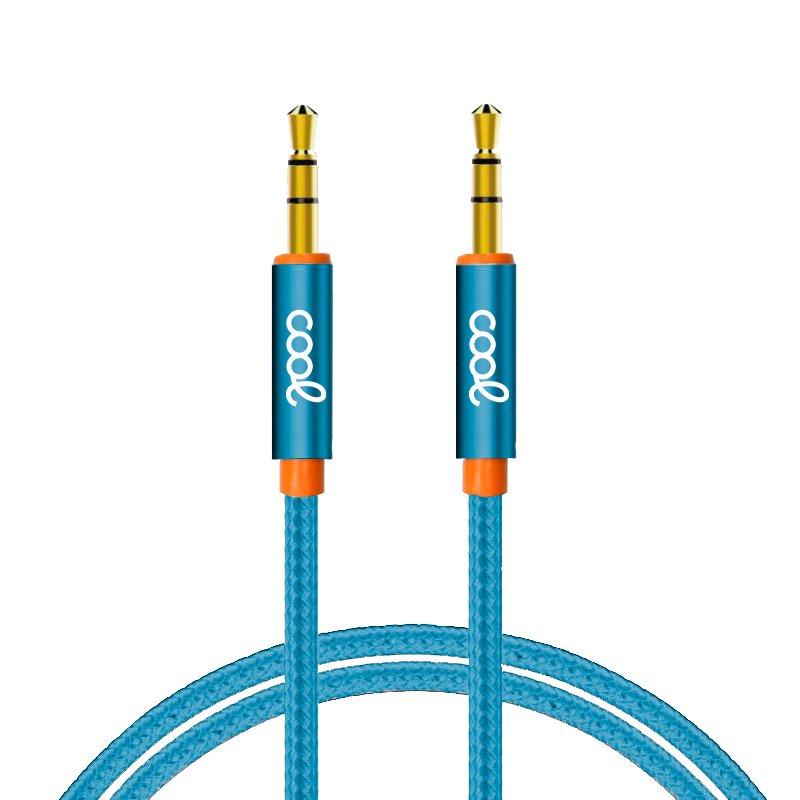 Cable Jack 3.5 mm a Jack 3.5 mm COOL Audio-Audio Nylon Celeste (1m)