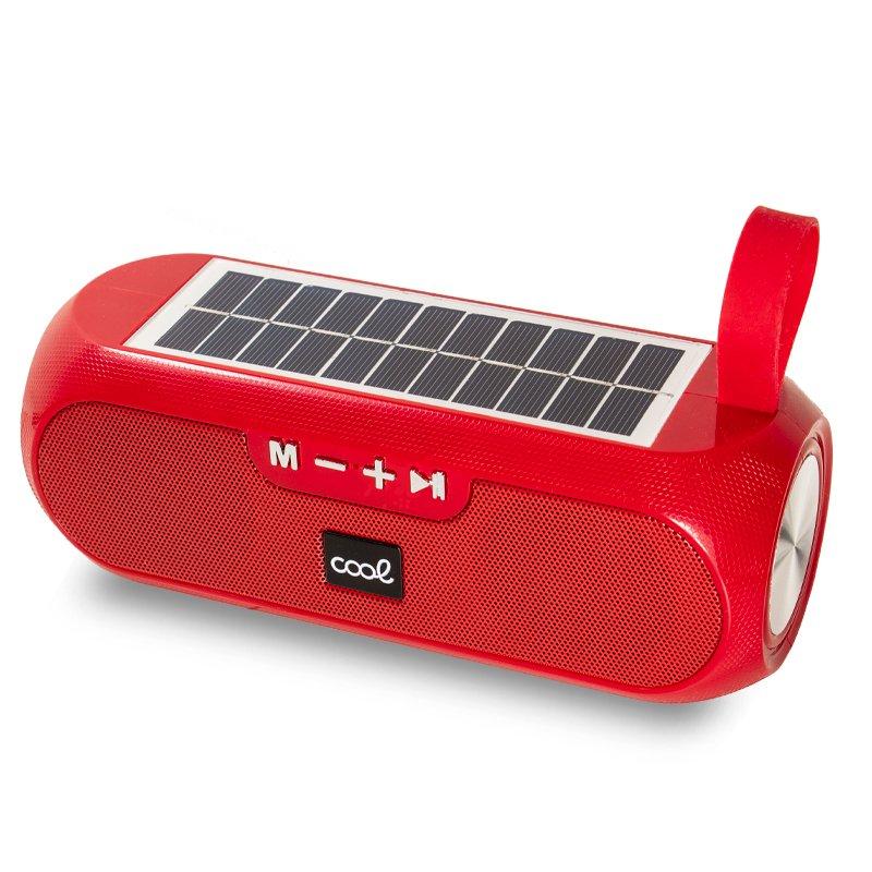 Altavoz Música Universal Bluetooth COOL Glasgow Rojo (10W) Con Panel Solar