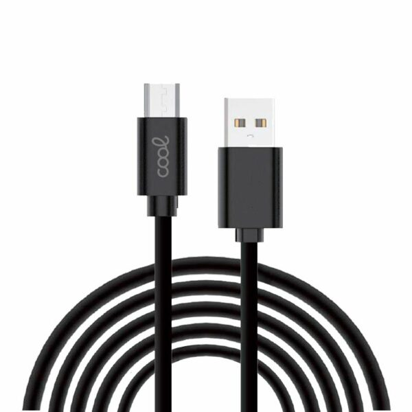 Cable USB Compatible COOL Universal (micro-usb) 3 metros Negro 2.4 Amp
