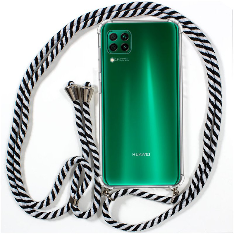 Carcasa COOL para Huawei P40 Lite Cordón Blanco-Negro