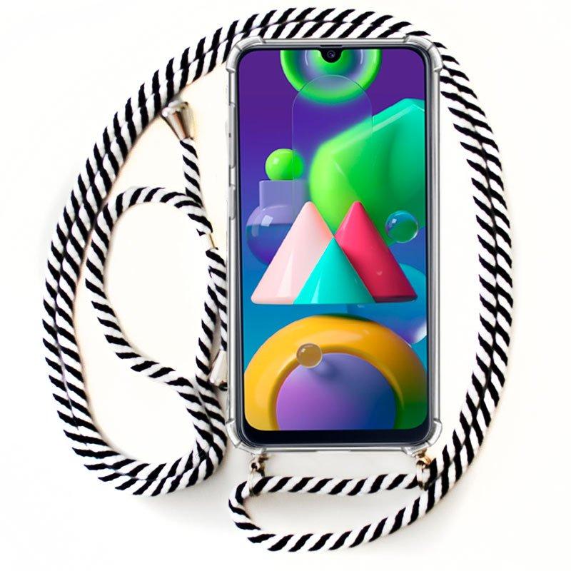 Carcasa COOL para Samsung M215 Galaxy M21 Cordón Blanco-Negro