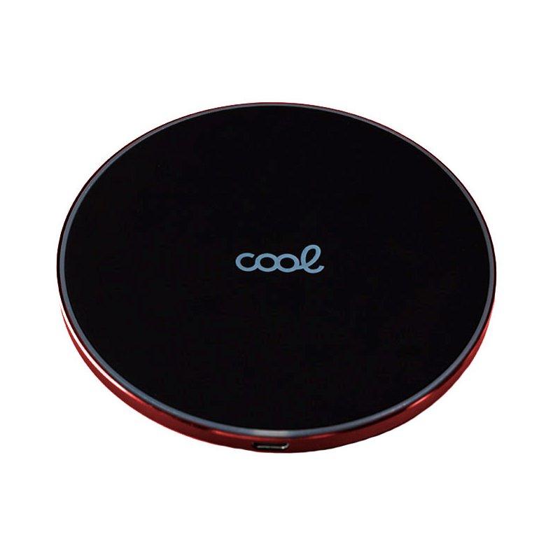 Dock Base Cargador Smartphones Inalámbrico Qi Universal COOL (Carga Rápida) Negro Borde Rojo