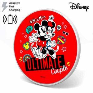 Dock Base Cargador Smartphones Qi Inalámbrico Universal Licencia Disney Rojo (Carga Rápida)