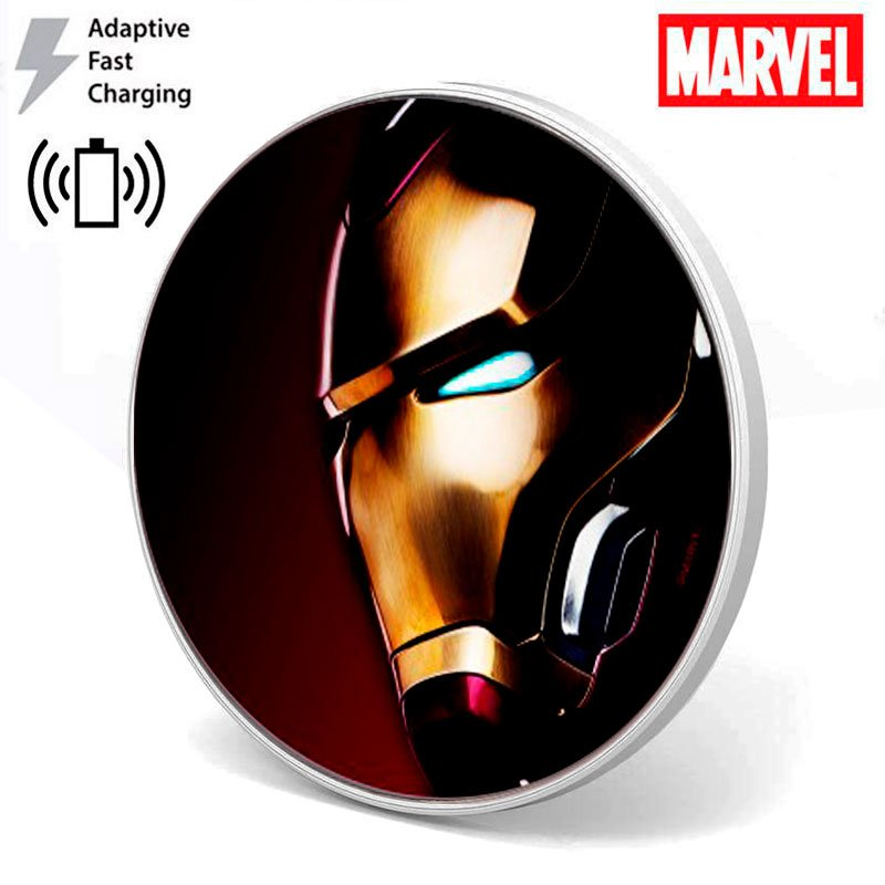 Dock Base Cargador Smartphones Qi Inalámbrico Universal Licencia Marvel Iron Man (Carga Rápida)